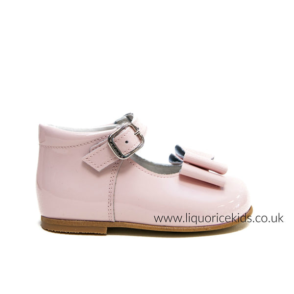 Andanines Girls Baby Pink Patent Leather Bow Shoes - Liquorice Kids