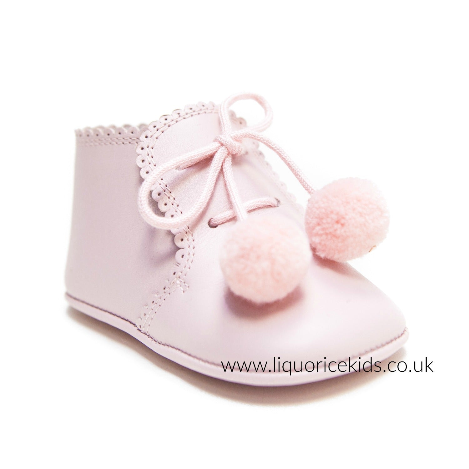 Andanines Baby Pink Soft Leather Pom