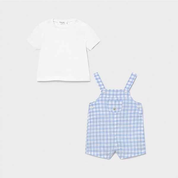 SS21 Mayoral Baby Boys Blue & White Check Dungaree Set 1639