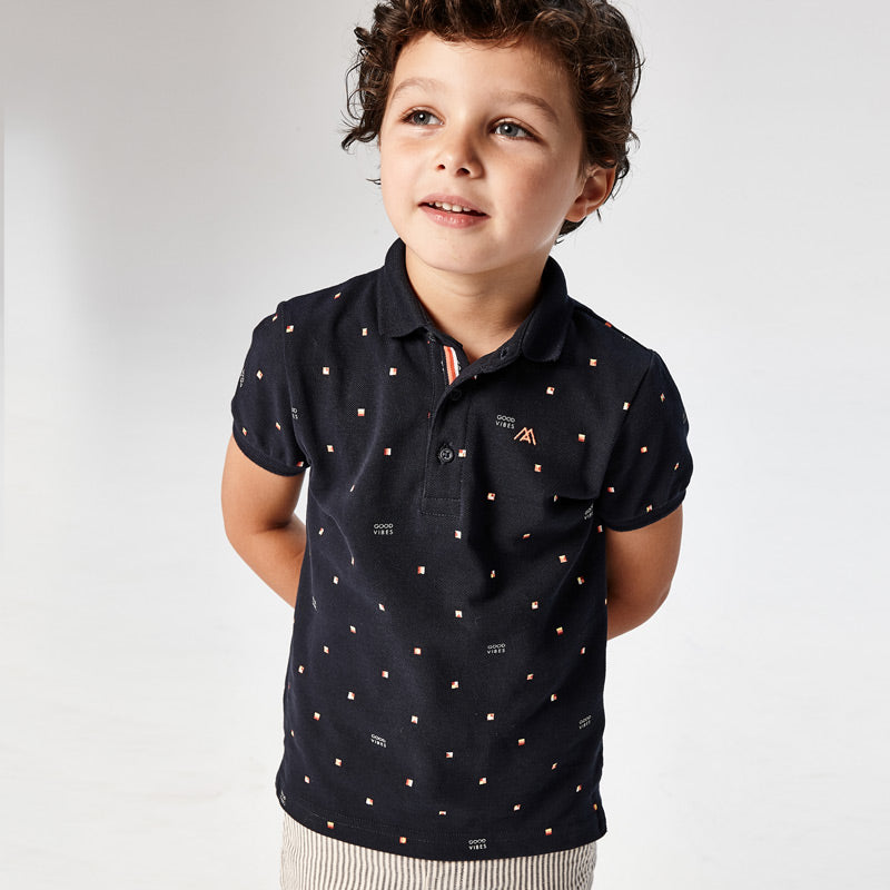 SS21 Mayoral Boys Navy Blue Patterned Polo Top 3106