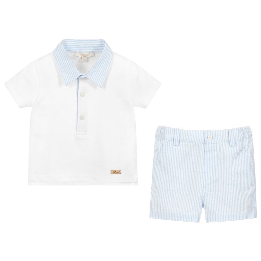 SS19 Purete Du...Bebe Boys Blue & White Stripe Shorts Set