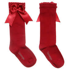 Carlomagno Red Double Bow Knee High Socks - Liquorice Kids