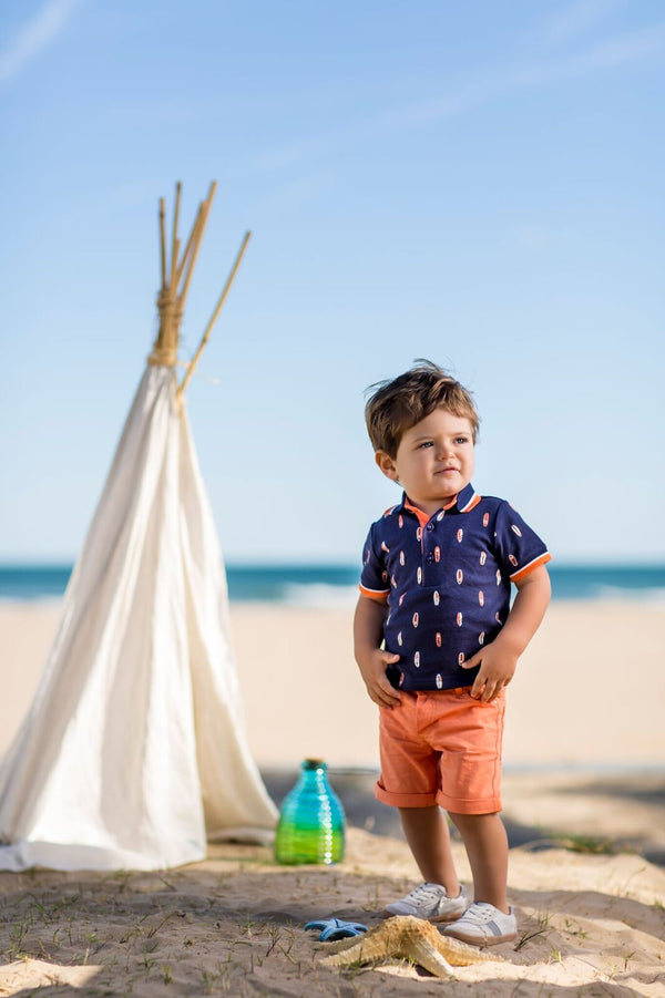 SS18 Tutto Piccolo Boys Navy & Orange Shorts Set 4844 & 4322