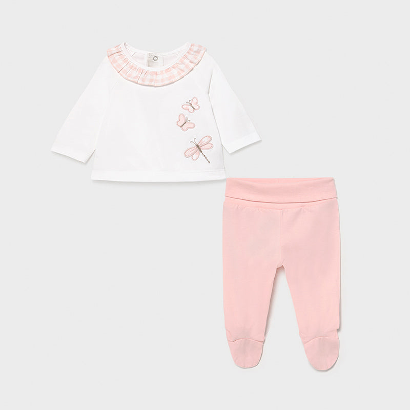 SS21 Mayoral Baby Girls Pink & White Butterfly Set 1560