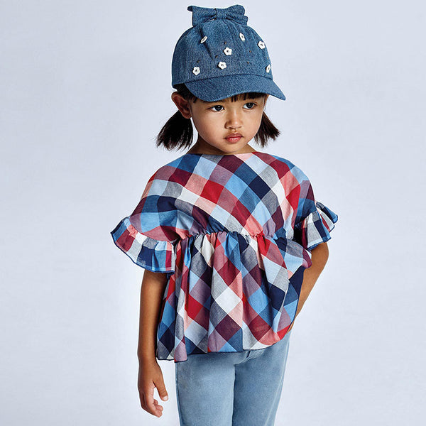 SS21 Mayoral Girls Red & Blue Check Blouse 3194
