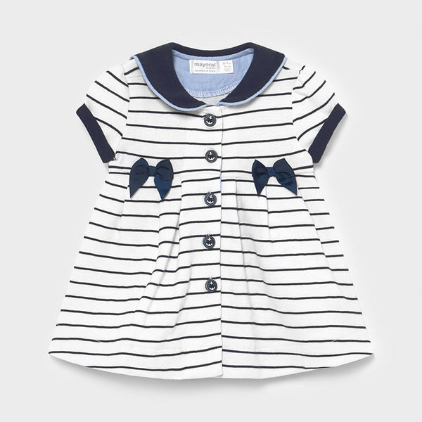 SS21 Mayoral Baby Girls Navy Blue Stripe Sailor Dress 1801