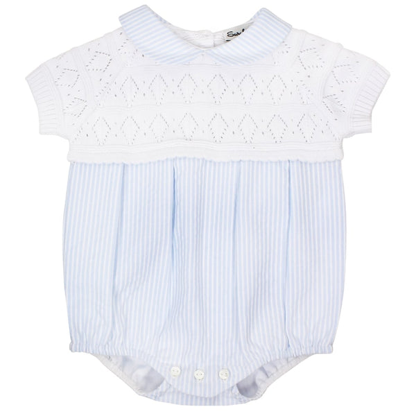 SS18 Sarah Louise Baby Boys White & Blue Romper