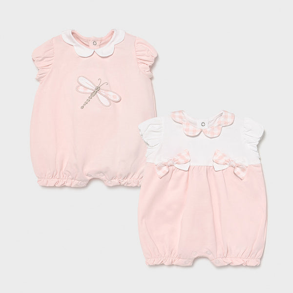 SS21 Mayoral Baby Girls Pink & White Set of Rompers 1606