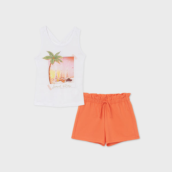 SS21 Mayoral Older Girls Orange Summer Vibes Short Set 6281