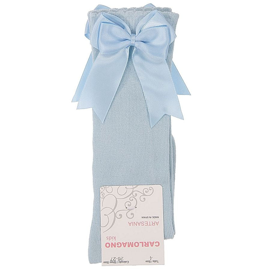 Carlomagno Baby Blue Double Bow Knee High Socks