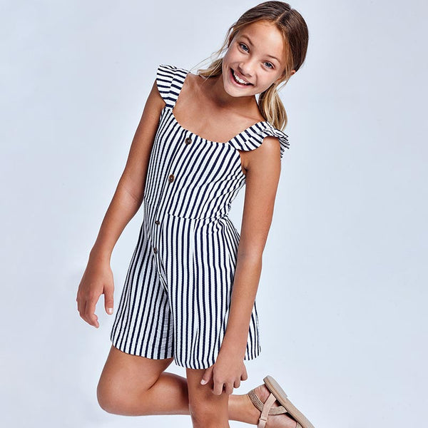 SS21 Mayoral Older Girls Navy Blue & White Stripe Playsuit 6818
