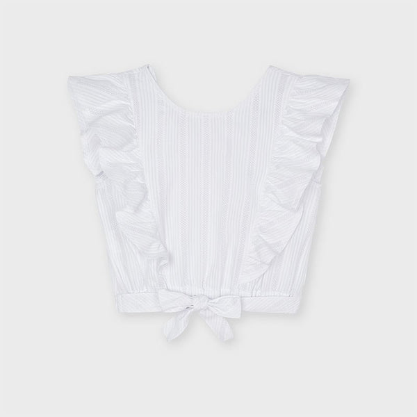 SS21 Mayoral Older Girls White Ruffle Top 6181