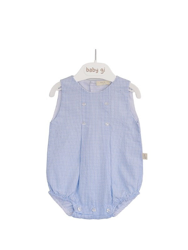 SS20 Baby Gi Baby Boys Blue & White Check Romper