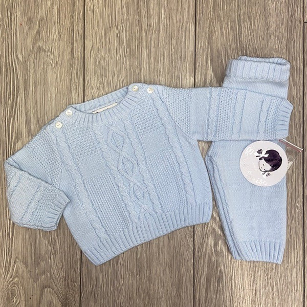 AW20 Sarah Louise Baby Boys Blue Knitted Two-Piece Set