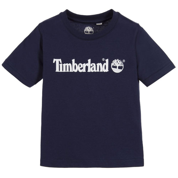 AW18 Timberland Boys Navy Logo Short Sleeved Top