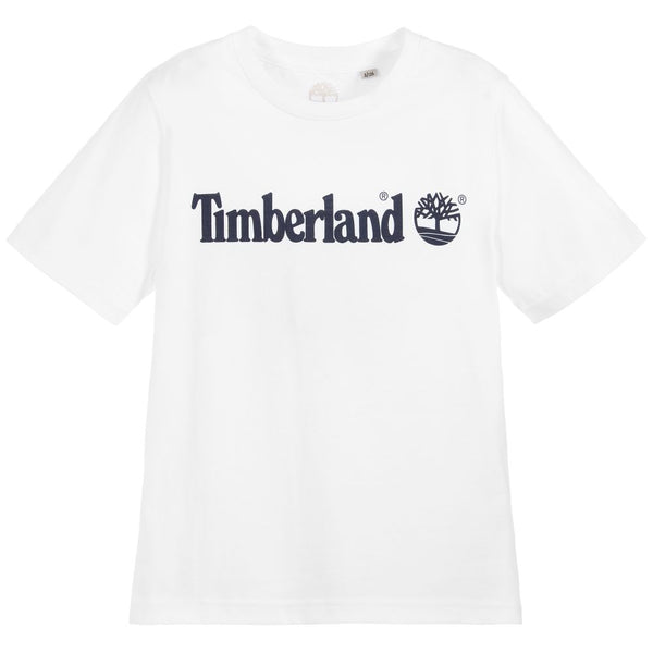 AW18 Timberland Boys White Logo Short Sleeved Top