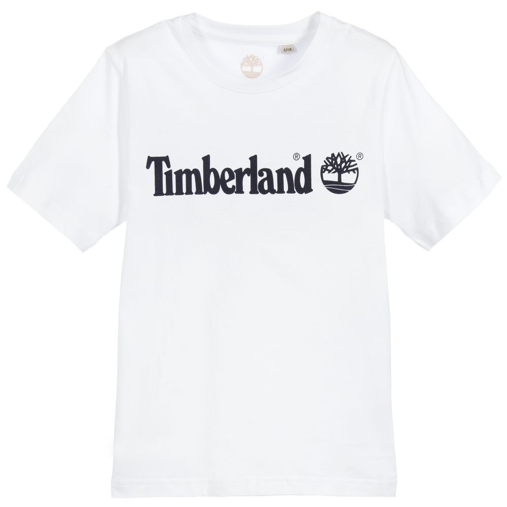 AW19 Timberland Boys White Branded T-Shirt