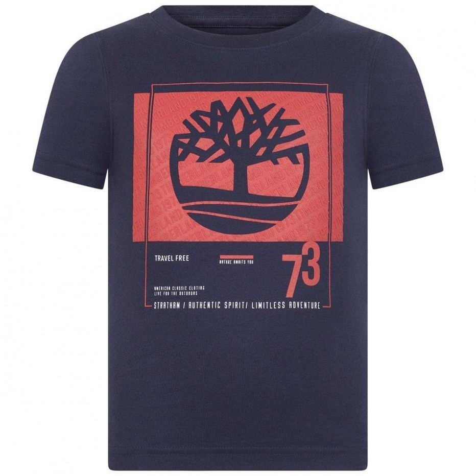 AW19 Timberland Boys Navy Blue & Red Logo T-Shirt