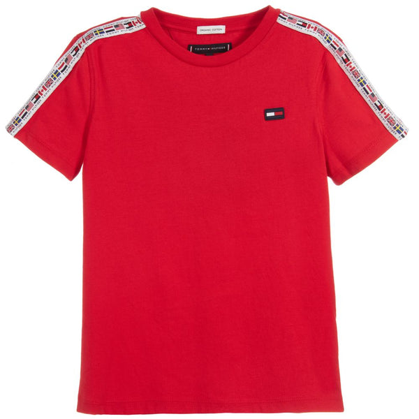 SS19 Tommy Hilfiger Boys Red Logo Tape T-Shirt