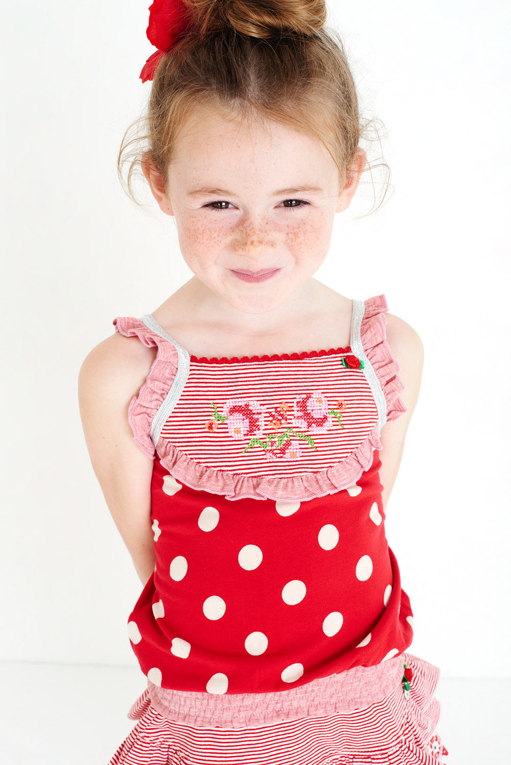 SS17 Mim-Pi Girls Spanish Rose Red & White Spots Top 451