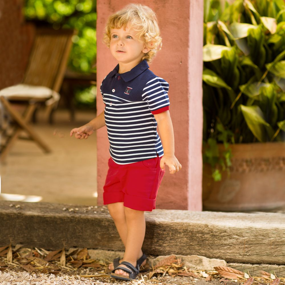 SS18 Tutto Piccolo Boys Navy & Red Shorts Set 4840 & 4311
