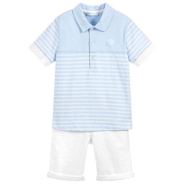 SS18 Tutto Piccolo Boys Blue & White Shorts Set 4840 & 4311