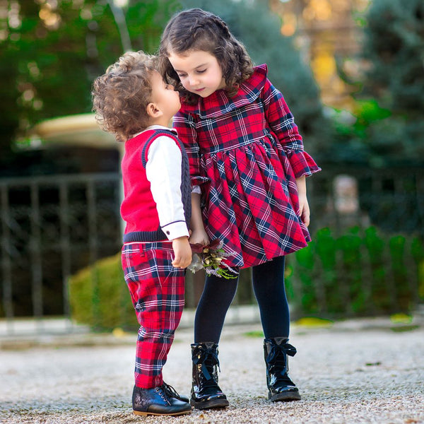 AW18 Tutto Piccolo Girls Tartan Dress & Tights Set 5232