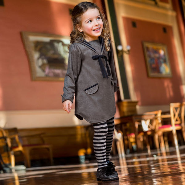 AW18 Tutto Piccolo Girls Grey & Navy Blue Sailor Dress & Tights 5430