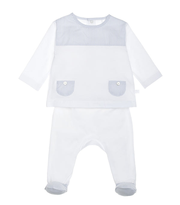 SS20 Laranjinha Baby Boys Blue & White Stripe Two-Piece Set V0022