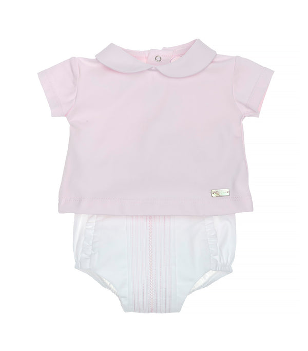 SS20 Laranjinha Baby Girls Pink & White Two-Piece Set V0056