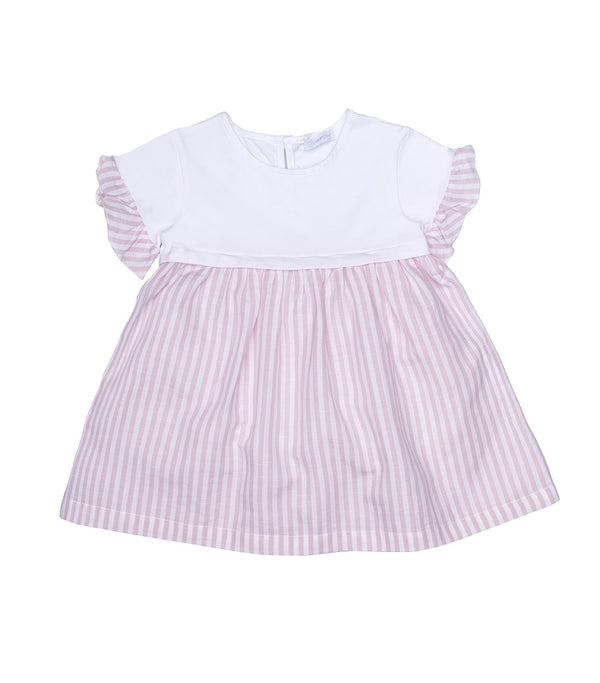 SS20 Laranjinha Girls White & Pink Striped Dress V0415