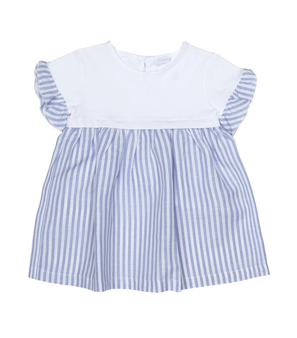 SS20 Laranjinha Girls White & Lilac Striped Dress V0415