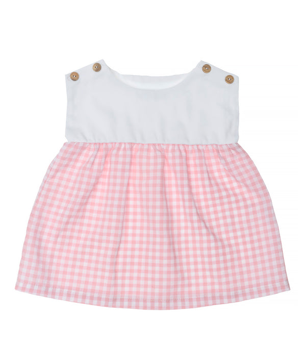 SS20 Laranjinha Girls White & Pink Check Dress V0427