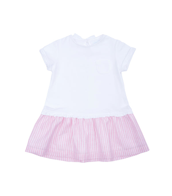 SS19 Laranjinha Girls Pink & White Stripe Dress V9503