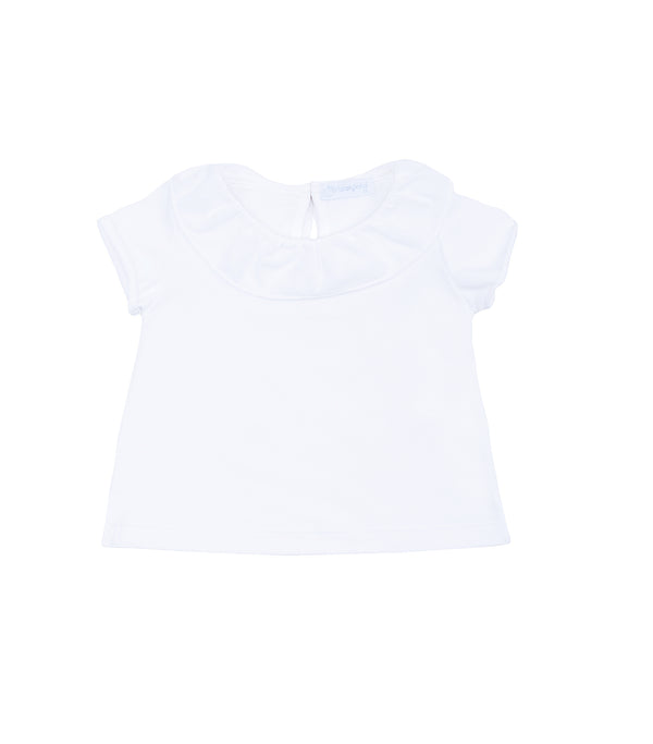 SS19 Laranjinha Girls White Frill Collar Top V9528
