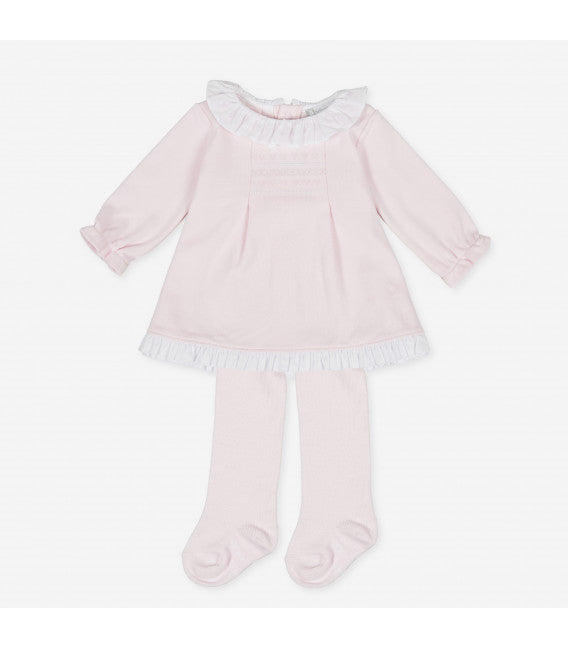 AW20 Tutto Piccolo Baby Girls Pink Dress & Tights Set 9782