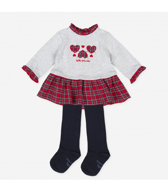 AW20 Tutto Piccolo Baby Girls Grey Tartan Dress 9794