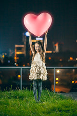 Large heart-shaped balloon with 5 LED balls