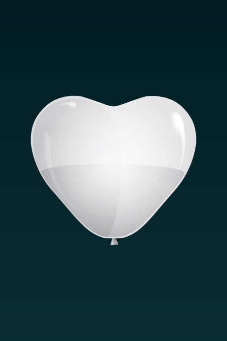 White, matte latex heart-shaped balloon