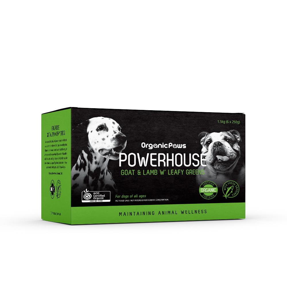 Organic Paws Powerhouse Goat & Lamb w/Leafy Greens 1.5kg (local store pick-up only)