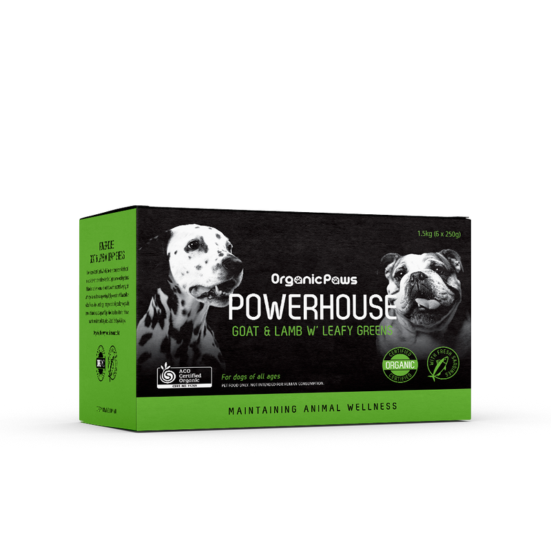 Organic Paws Powerhouse Goat & Lamb w/Leafy Greens 1.5kg (Frozen Product)