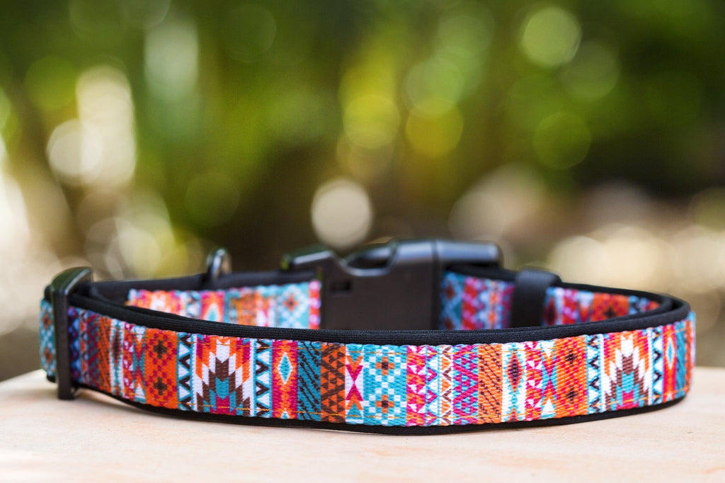 Orange Aztec Dog Collar