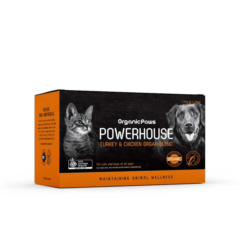 Organic Paws Powerhouse Turkey & Chicken Organ Blend 1.5kg (Frozen Product))