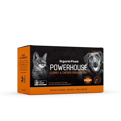 Organic Paws Powerhouse Turkey & Chicken Organ Blend 1.5kg (local store pick-up only)