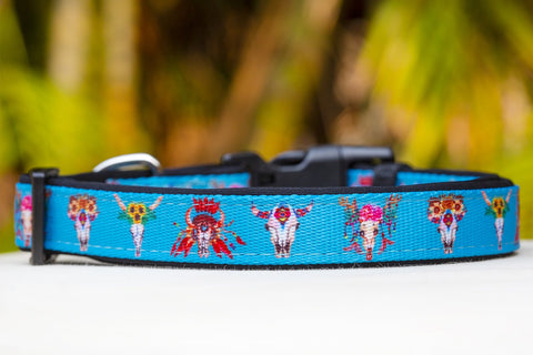 Boho Hippie Skulls Dog Collar