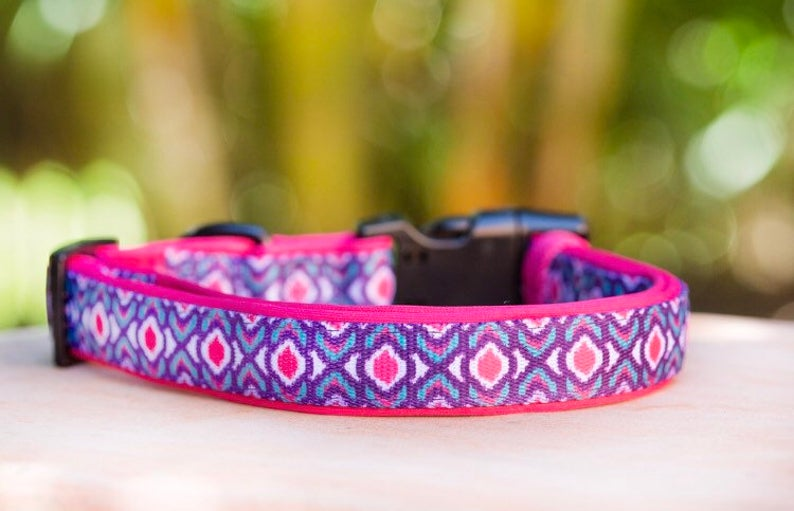 Pink Ikat Dog Collar