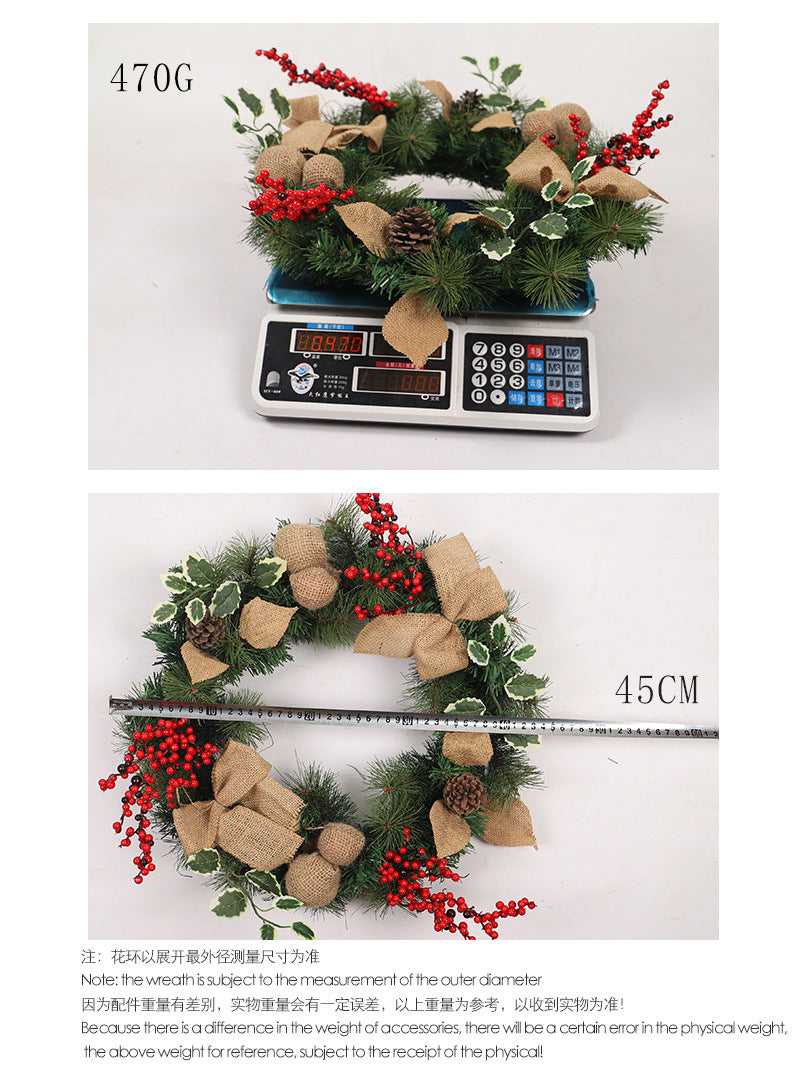 New Artificial Flower&Pines Christmas Wreath