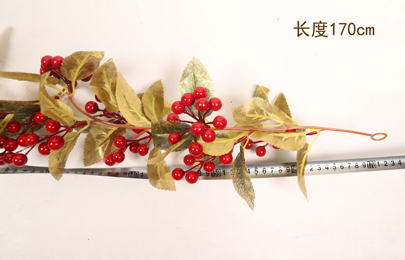 New Red Fruit&Gold Leaves Christmas Rattan
