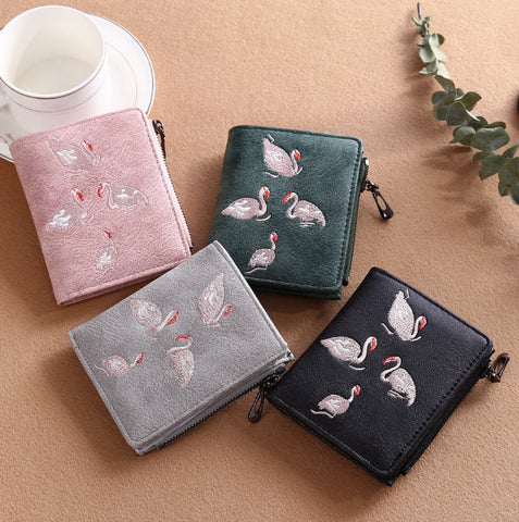 Embroidered Swan Card Holder Wallet