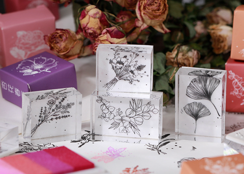Flower World Vintage Acrylic Stamps